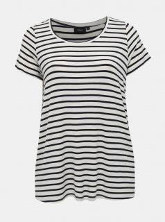 Krémové basic pruhované tričko Zizzi Judy