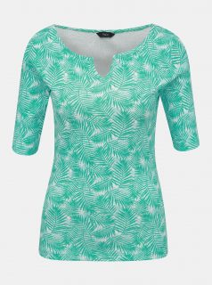 Tyrkysové dámské vzorované tričko M&Co