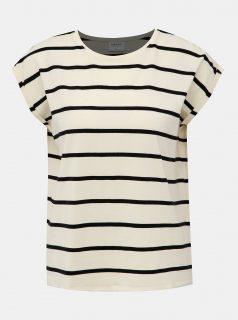 Krémové pruhované basic tričko VERO MODA AWARE Plain