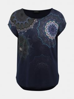 Tmavě modré vzorované tričko Desigual Mara