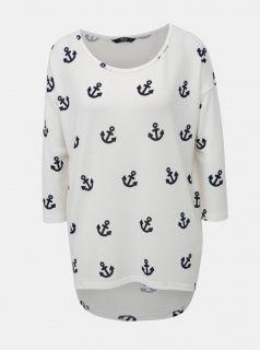 Bílé vzorované tričko s 3/4 rukávem ONLY Elcos