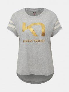 Světle šedé tričko s potiskem Kari Traa Vilde