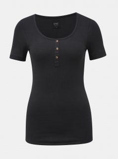 Černé žebrované tričko ONLY Veronika