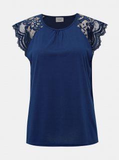 Tmavě modré tričko s krajkou Jacqueline de Yong Aluka