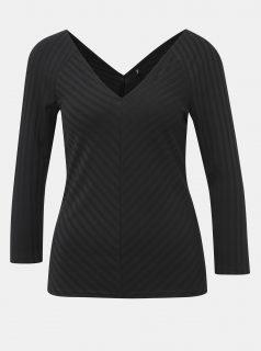 Černé žebrované tričko ONLY Gina