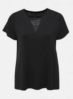 Černé tričko s krajkou Zizzi Hugo