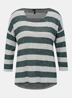 Šedo-zelený pruhovaný lehký svetr VERO MODA Wide