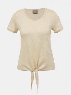 Béžové lněné tričko VERO MODA