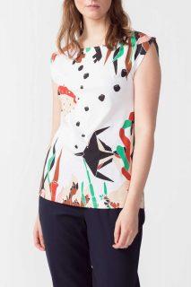 SkunkFunk bílé tričko Birkide s barevnými motivy