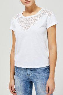 Moodo bílé tričko s krajkou