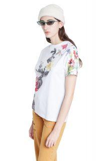 Desigual bílé tričko TS Yaiza s barevnými motivy