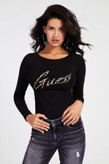 Guess černé tričko Glitter Logo s dlouhý rukávem