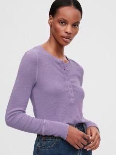 Fialové dámské tričko GAP Ribbed Henly
