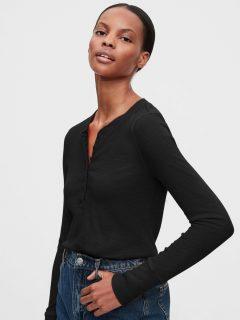 Černé dámské tričko GAP Ribbed Henly