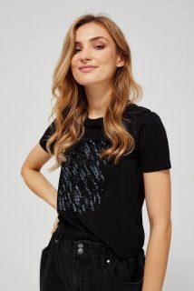 Moodo černé tričko s flitry