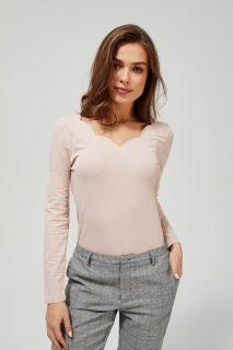Moodo pudrové tričko s výstřihem