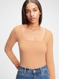 Béžové dámské tričko organic cotton squareneck bodysuit