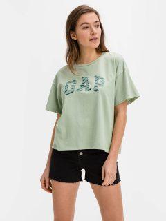 Zelené dámské tričko GAP Logo easy heavyweight t-shirt