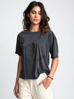 RVCA SERPENT washed black dámské triko s krátkým rukávem – šedá