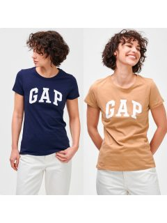 Béžové dámské tričko GAP Logo franchise classic t-shirt, 2ks