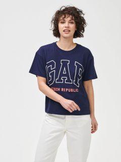 Modré dámské tričko GAP Logo Czeach Republic easy short sleeve tee