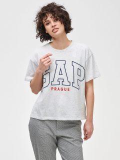 Šedé dámské tričko GAP Logo Prague easy short sleeve tee