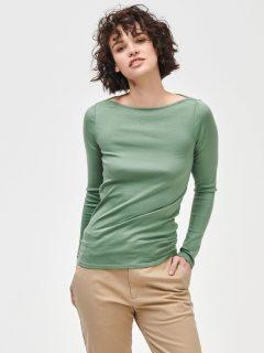 Zelené dámské tričko long sleeve mod bateau