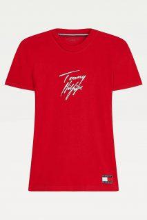Tommy Hilfiger červené dámské tričko CN Tee SS Logo