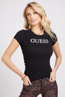 Guess černé tričko Glitter Front Logo