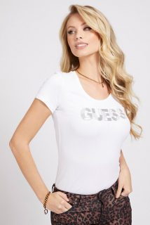 Guess bílé tričko Glitter Front Logo