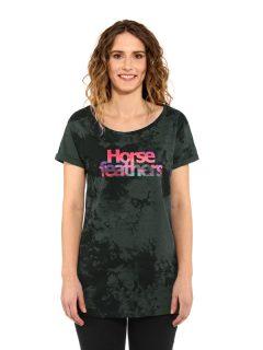Horsefeathers CHELSEA gray tie dye dámské triko s krátkým rukávem – černá