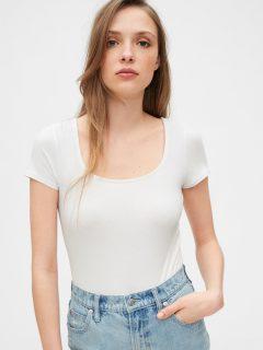 Bílé dámské tričko squareneck bodysuit