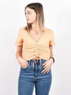 RVCA RUCHED CANTALOUPE dámské triko s krátkým rukávem – béžová