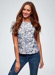 Tričko s květinovým vzorem OODJI