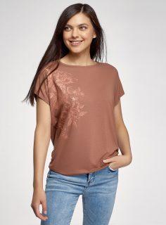 Tričko volného střihu s výšivkou OODJI
