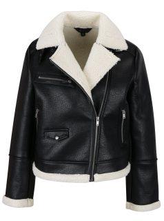 Černá koženková bunda s umělým kožíškem Miss Selfridge