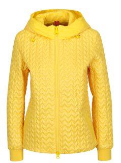 Žlutá dámská prošívaná bunda s kapucí Geox