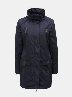 Tmavě modrá dlouhá bunda s kapucí v límci Yest