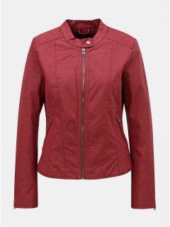 Červená koženková bunda s detaily ve stříbrné barvě ONLY Saga