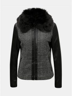 Šedo-černá vzorovaná koženková bunda s odnímatelným umělým kožíškem Yest