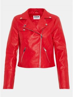 Červená koženková bunda s detaily ve stříbrné barvě Noisy May Allan