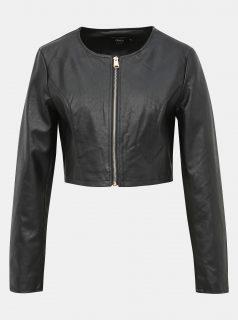 Černá krátká koženková bunda ONLY Bolette