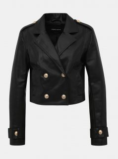Černá krátká koženková bunda TALLY WEiJL Fuly