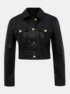 Černá koženková krátká bunda TALLY WEiJL