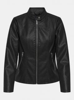 Černá koženková bunda s povrchovou úpravou ONLY Melisa