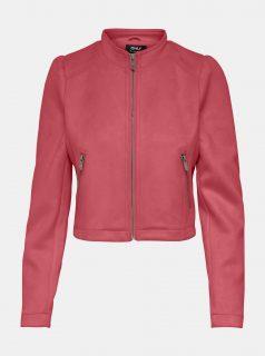 Růžová bunda v semišové úpravě ONLY-Shelby