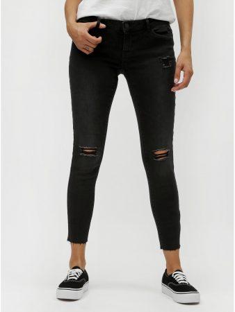 ab6850d0921 Tmavě šedé zkrácené skinny džíny s potrhaným efektem Noisy May Eve ...