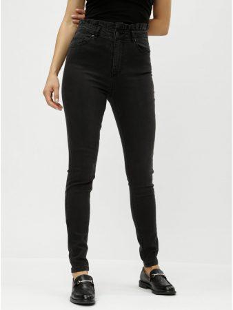 Černé slim džíny s vysokým pasem a řasením VERO MODA Cloud - Dámské ... 8790060ca0