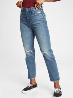 Modré dámské džíny high rise straight khaki