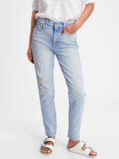 Modré dámské džíny high rise distressed cigarette jeans with Washwell